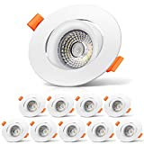 10er Set Schwenkbare LED Einbaustrahler - YUNLIGHTS 10 X 10W GU10 Aluminium LED Spot 230v Flach  ...