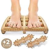 NEU: Fußmassageroller zur Entspannung und Stressreduzierung I Fußroller Holz ideal für Zuhause &...
