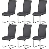 Yaheetech 6er Set Esszimmerstühle Wohnzimmerstuhl Küchenstuhl Schwingstuhl, Belastbarkeit 135 kg...
