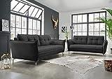 lifestyle4living Couchgarnitur in schwarzem Stoff bezogen, Garnitur bestehend aus 2-Sitzer und...