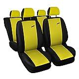 3er Set Saferide Autositzbezüge PKW universal | Auto Sitzbezüge Polyester Gelb für Airbag...