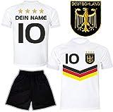 DE FANSHOP Deutschland Trikot Hose mit GRATIS Wunschname Nummer Wappen Typ #DV im EM/WM Weiss -...