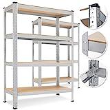 MASKO® 2er-Set Lagerregal Schwerlastregal, Kellerregal, 160 x 80 x 40 cm, bis 700 kg belastbar, 4...