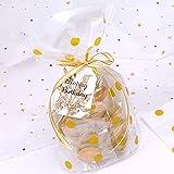 JIAAN Süßigkeiten Taschen 50 Stücke Plätzchentüten Golden Süßigkeitentüten,Cello Taschen mit...
