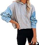 ZIYYOOHY Damen Kapuzenpullover Cowboy Oversized Hoodie Kurz Sweatshirt Oberteile Beiläufig (L,...