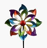 KLP Gartenstecker doppel Windrad Windmhle Metall Blume Windspiel Garten Deko Figur