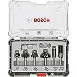 Bosch Professional 6tlg. Rand- und Kantenfräser Set (für Holz, Zubehör für Oberfräsen mit 8 mm...