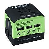 JINSE Internationaler Reiseadapter, USB Universal Travel Power Plug Adapter, All-in-One European...