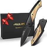 Taschenmesser mit Spitzer und Gürteltasche, JELLAS J-003 Klappmesser mit Schwarz Beschichteter...