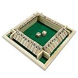 Unda118 Holz Nummer Brettspiel, vierseitig 10 Zahlen Shut Box Brettspiel für Freunde/Familie...