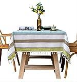 AOUP-Tischdecke, Nordisch Gestreifte Tischdecke Aus Baumwollleinen Mit Fransen, Küchentisch Und...