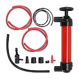 Trintion Öl Absaugpumpe manuelle Handpumpe Saugpumpe mit 3 Schläuchen, Luftpumpe Aufsätze, rot...