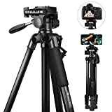 Stativ Kamera, GooFoto 148cm Leichtes Aluminium-Kamerastativ für DSLR Canon/Nikon/Sony, Handy...