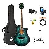 Winzz Akustikgitarre Blau-grün, Westerngitarre 40 Zoll, Gitarre Anfänger Set mit Gitarre...