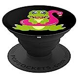 Lustiger Dino in einem Flamingo Schwimmreifen - PopSockets Ausziehbarer Sockel und Griff für...