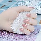 Falsche Nägel Mädchen Rosa Farbe Falsche Nägel Frauen Natur Gefälschter Nagel Kurzer runder Kopf...