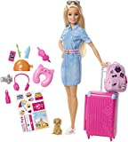 Barbie FWV25 - Reise Puppe mit blonden Haaren inkl. Reisezubehör und Hündchen, Puppen Spielzeug...