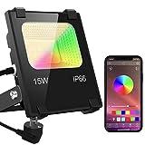 RGB LED Strahler 15W Fluter Außen Strahler Bluetooth APP-Steuerung 16 million Farben und 20 Modi...