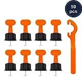 Fliesennivelliersystem-Kit, 50 Stück Fliesenwaagen mit speziellem Schraubenschlüssel,...