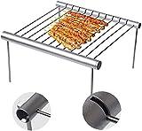 UYICTT 1Pc bewegliche Faltbare Edelstahl Barbecue Grillrost im Freien Miniantihaft-Mat Backen EET...