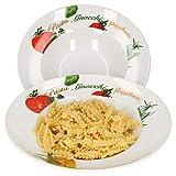 Van Well 2er Pastateller-Set Milano mit Aufdruck I Ø 27 cm I tiefer Porzellan-Teller I...