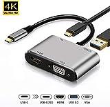 DOOK USB C Hub 4 in 1 USB C Adapter mit 1 x USB 3.0 Port (Highspeed), 4K HDMI, VGA Anschluss, Typr-C...