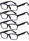 ALWAYSUV 4 Stück Schwarz Federn-Scharnier Lesebrille Klassische Lesehilfen Sehhilfen Brille 3.0
