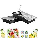 GoZheec Eiswürfelform, 2er Pack große Silikon Eiswürfelbehälter mit Deckel, BPA-Frei Für Große...