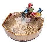 Rubeyul Vogeltränke mit Zwei Kleinen Vögelchen, Vogelbad Vogelbecken Futterschale, aus Keramik,...