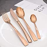Besteckset 24 Teilig, vergoldete Western Geschirr 430 Edelstahl Messer und Gabel Löffel Set für...