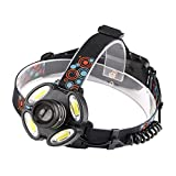 SZSM 1 * t6 & 4 * Cob Scheinwerfer Zoomable T6 Head Taschenlampe Led Stirnlampe Camping...