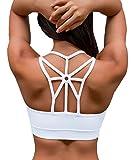 YIANNA Frauen Kabellos Fllung BHS Bewegung Yoga Sport-BH drahtloses weiches bequemes...