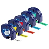 Wonfoucs kompatible Schriftband als Ersatz für Dymo letraTag Etikettenband 12mm x 4m 91221 91222...