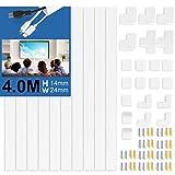 10 Stück Kabelkanal Selbstklebend Weiss | 400cm PVC Kabelabdeckung, Kabelschacht zum Kabel...