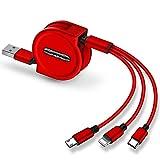 ZTING 120cm 3 in 1 USB Ladekabel fr iPhone & Micro USB & USB-Kabel C einziehbare tragbare Ladekabel...