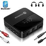wsiiroon Bluetooth Adapter 5.0 Transmitter Empfänger 2 in 1 mit High Definition und Low Latency,...