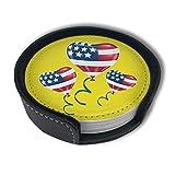 BJAMAJ Untersetzer, Motiv: USA-Flagge, Luftballon-Clipart aus hochwertigem PU-Leder, rund, mit...