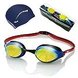 ARiety Profi Schwimmbrille mit Badekappe im Triathlon Set - Wettkampf Schwimmerbrille zum Training...