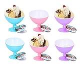 Fresh & Cold Dessertschalen mit Stielen, bunt, Kunststoff, für Eiscreme, 6 Stück, Garnelen,...