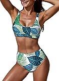 Aleumdr Bikini für Damen, Push-Up-Bikini, zweiteilig, mit hoher Taille, Design bedruckt,...