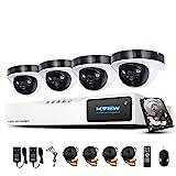 1080P Überwachungskamera System H.View 4CH AHD DVR und 4 Außen 1080P Dome Überwachungskamera Set...
