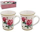 The Leonardo Collection Redoute Pink Rose Set mit 2 Tassen aus feinem Porzellan, in...