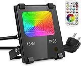 GIM RGB 15W LED Strahler Mit Fernbedienung 120 Farben 4 Modi Objektbeleuchtung LED Fluter...