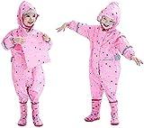 Kinder Kapuzen Poncho Kinder einteiliger Regenmantel und Regenhose, transparenter PVC Schirm,...