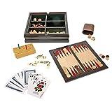 foolonli Spielesammlung Holz 6 TLG Natur Schwarz mit Schach, Dame, Domino, Backgammon, Rommé,...