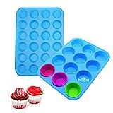 Sooair 2pcs Silikon Muffinform, 12+24 Cavity Mini Muffinform Blau BPA Frei, Muffinblech...