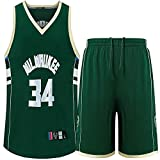 CHERSH Bucks 34 Basketball Anzug Set for Jungen, NBA Basketball Jersey-Satz, gestickte Jersey Vest...