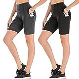 Damen Yoga-Shorts mit hoher Taille, zwei Seitentaschen, ideal für Laufen, Tanzen, Fahrrad (3#...