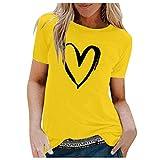 Damen Herz Print Kurzarm V-Ausschnitt Tunika Tops Sommer Freizeit Bluse Shirts T-Shirt