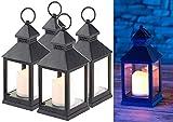 Lunartec LED-Laterne Garten: 4er Pack Laterne mit flackernder LED-Kerze und Timer, Batteriebetrieb...